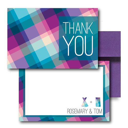 Rad in Plaid Flat Thank You Note Card + Envelope