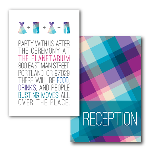 Rad in Plaid Reception / Ceremony Card
