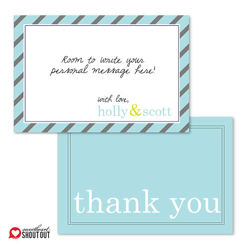 Pleasingly Preppy Flat Thank You Note Card + Envelope