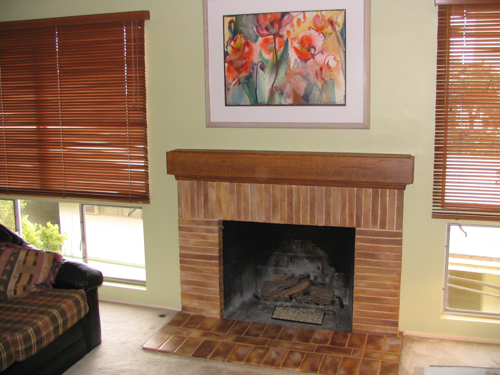 Faux Fireplace with Woodgrain Mantel