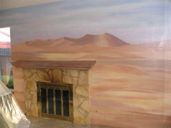 Wall Mural DESERT SCENE NEXT TO A FIREPLACE CREATED BY PAUL MAXWELL GODFREY
