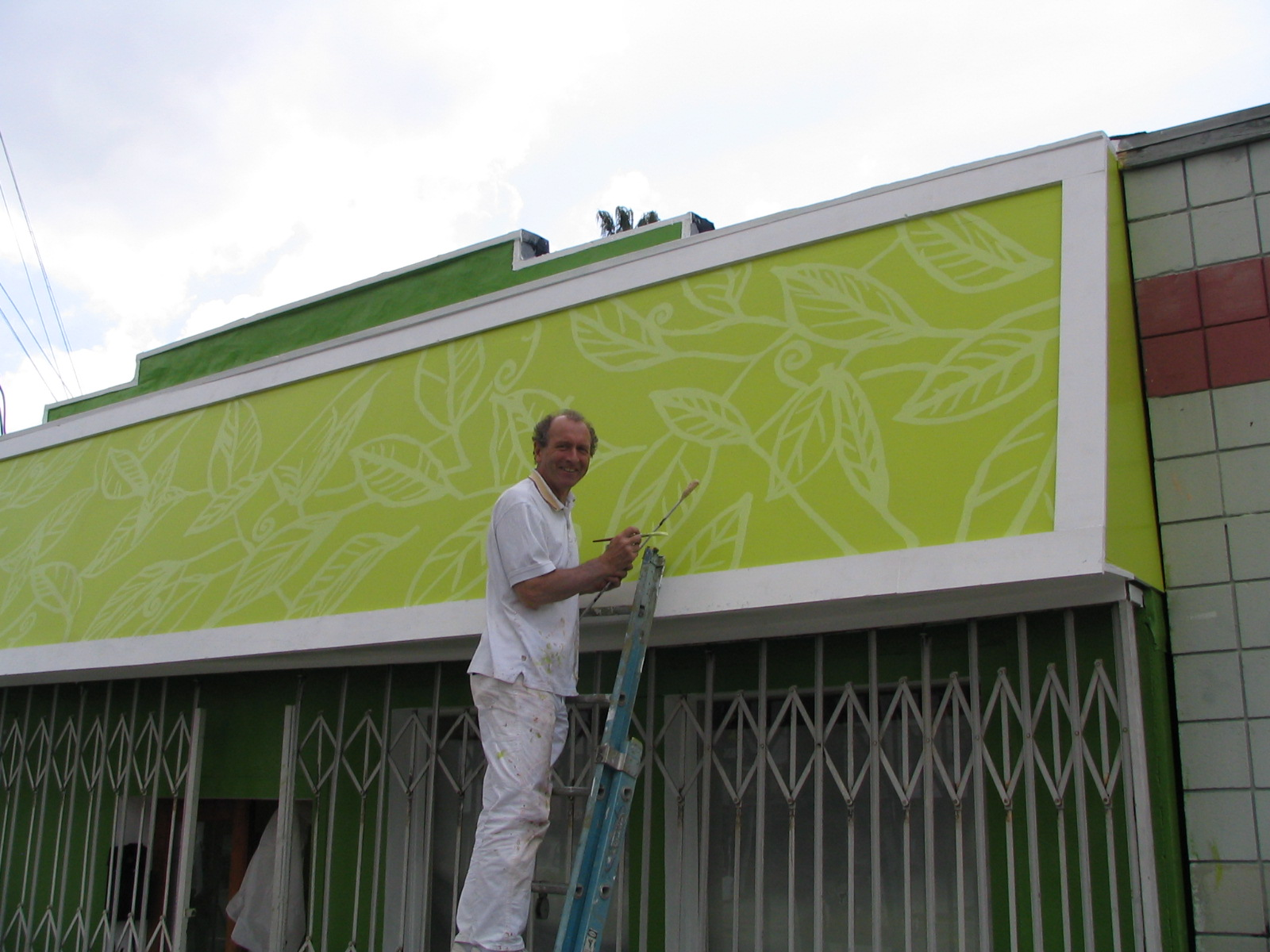 STORE EXTERIOR handpainted mural is being worked on by Paul Maxwell Godfrey