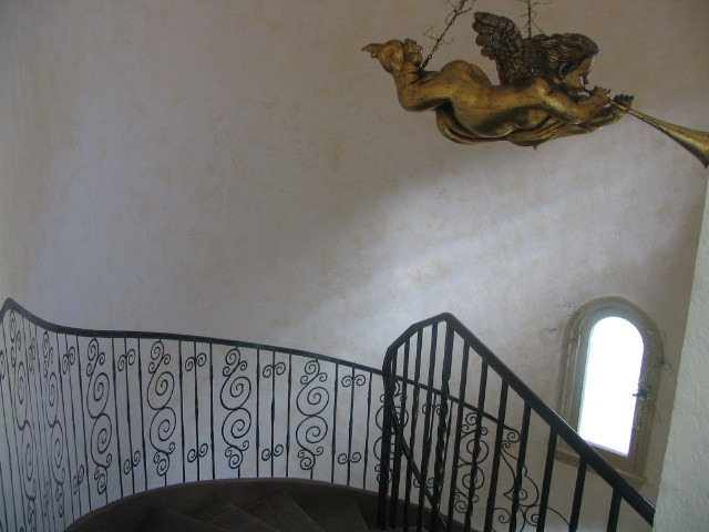 Handpainted Staircase on Faux Wall.