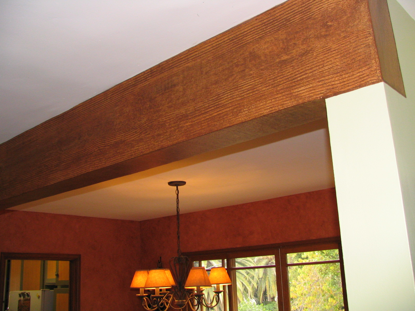 (AFTER) Woodgrained beam.