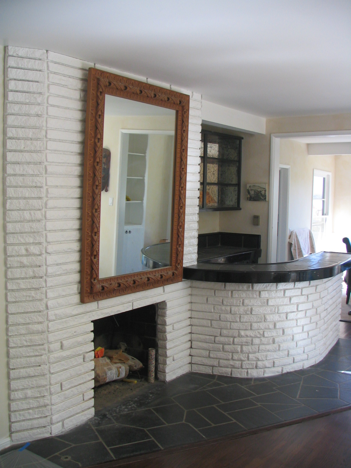 (BEFORE) Bar area & Stone Walls