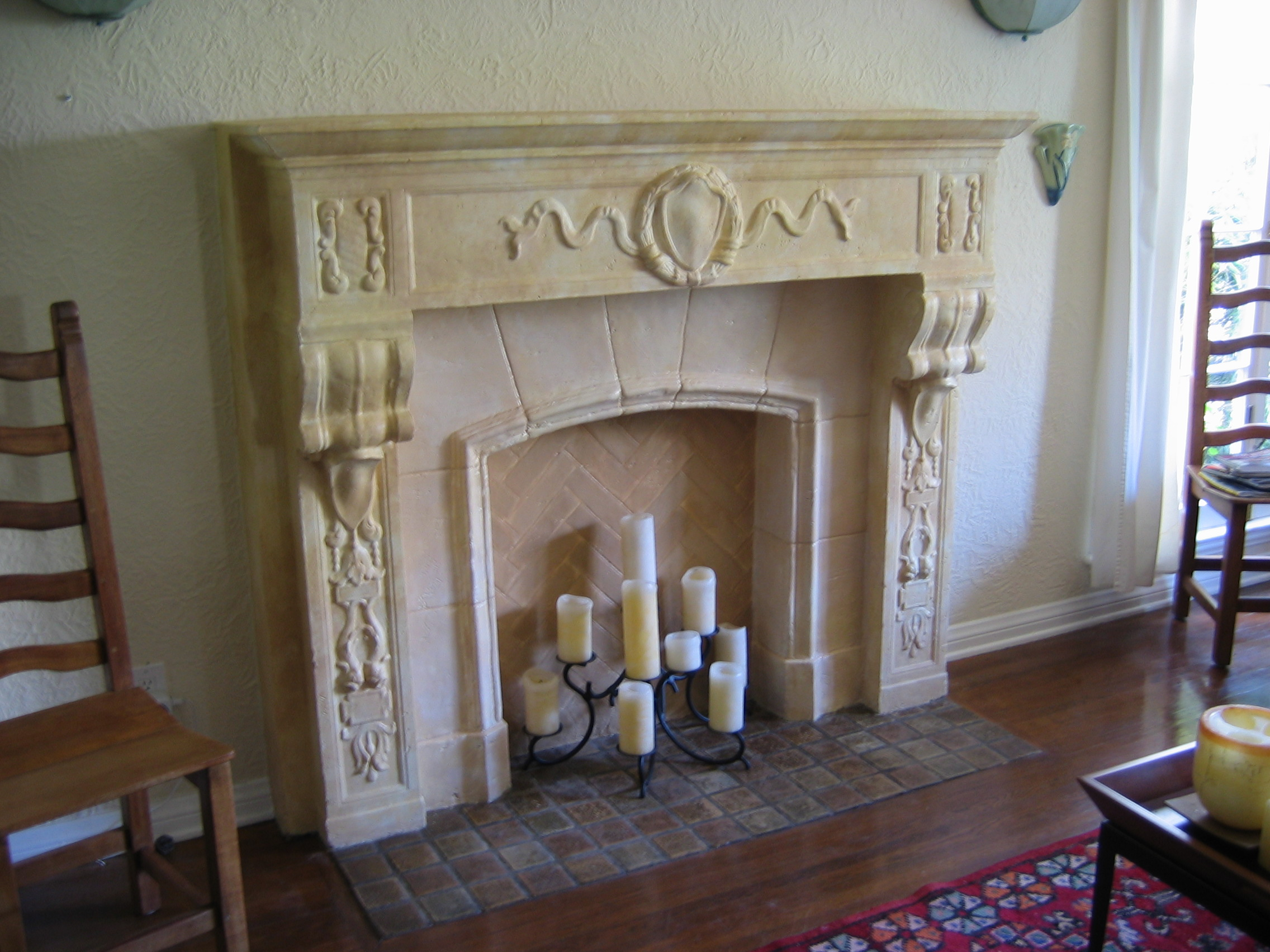 (AFTER) Faux Sandstone Fireplace.