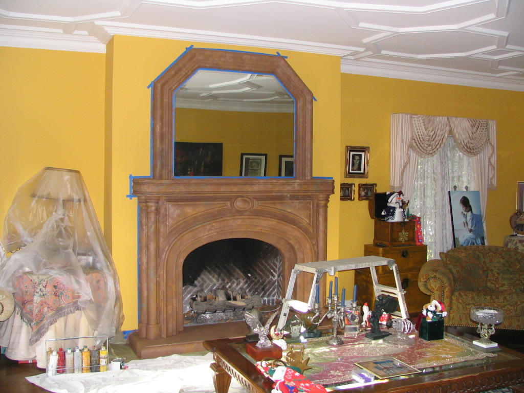 Marble Faux Fireplace. (AFTER).