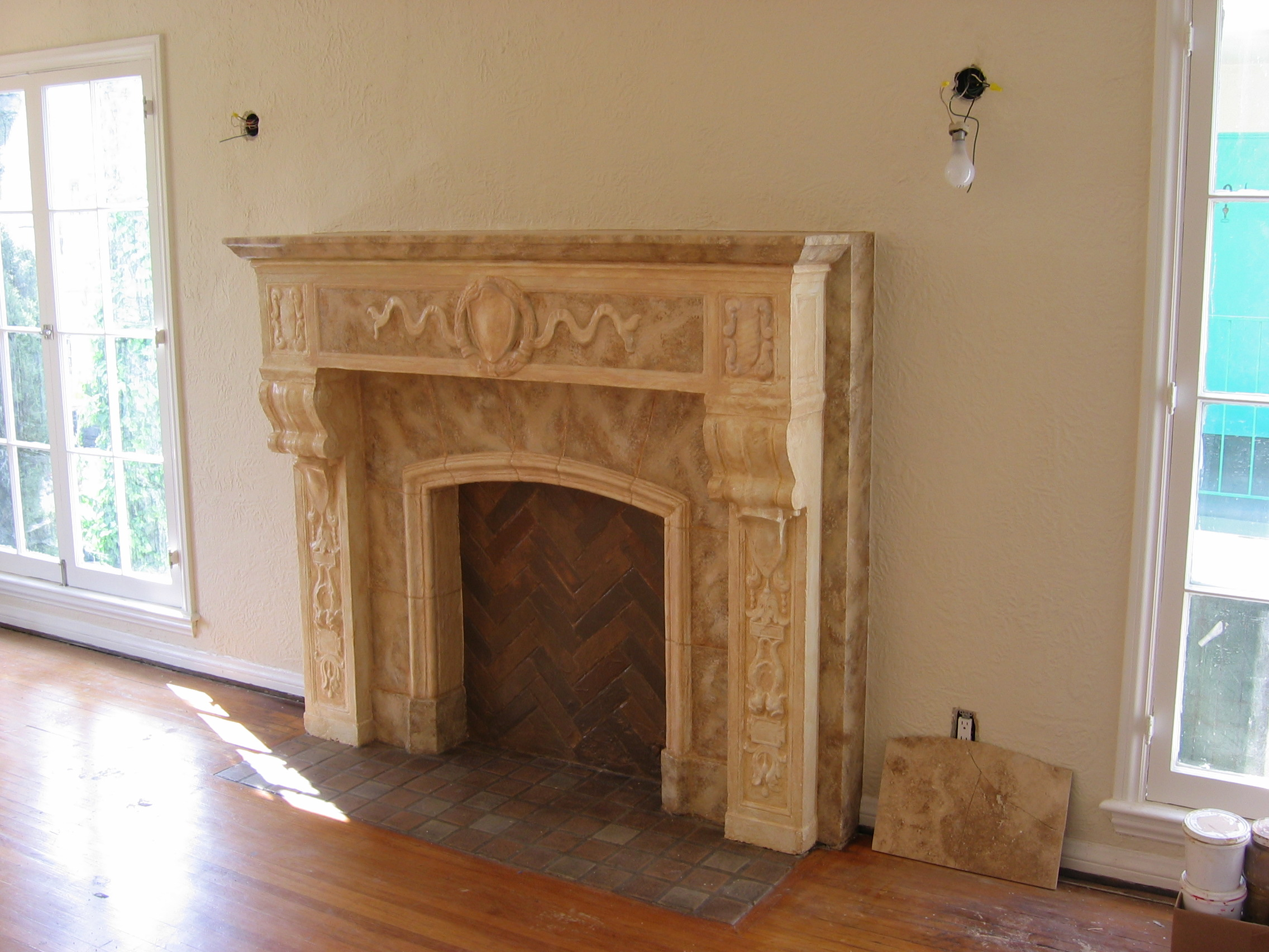 (AFTER). Faux Marble Fireplace.