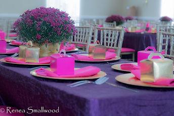 PEJEvents Tablescape, fuchsia table decor