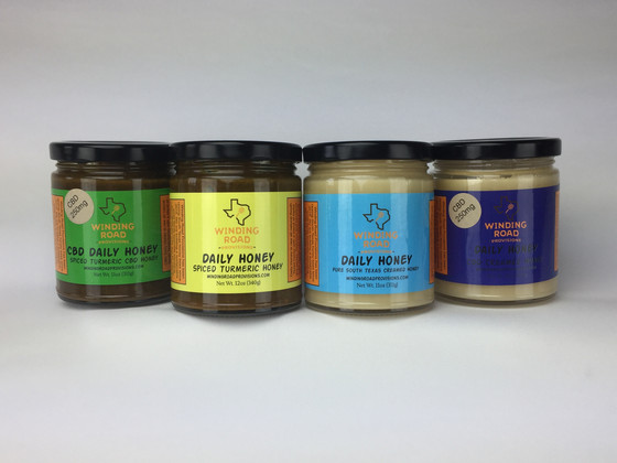 Daily Honey: Creamed local raw honey blended with Turmeric and CBD.