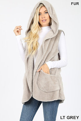 Faux Fur Hooded Cocoon Vest