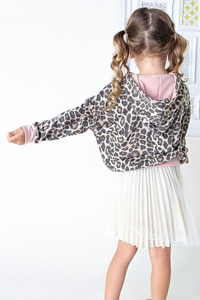 Kids leopard print french terry hoodie top