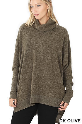BRUSHED MELANGE COWL NECK PONCHO SWEATER