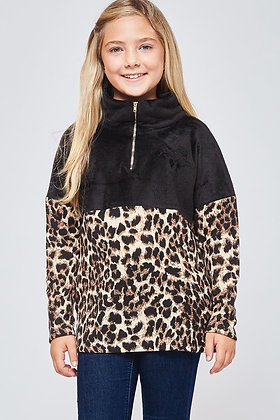 KIDS SIZE LEOPARD SWEATER PULLOVER