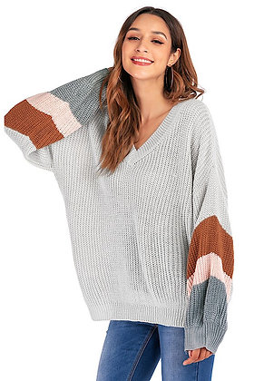 Loose Fitted Color Block Sleeves Sweater