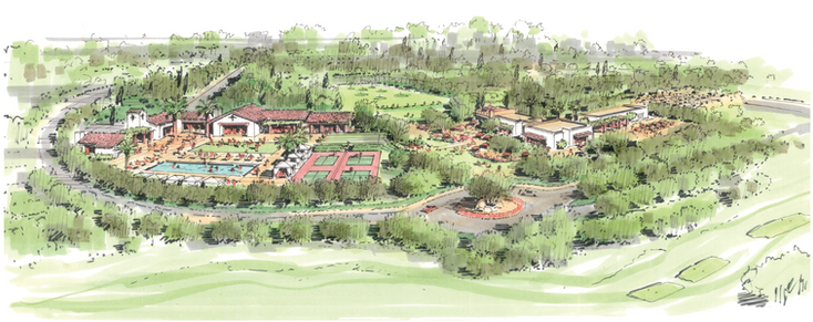 Elevated view of clubhouses & amenities