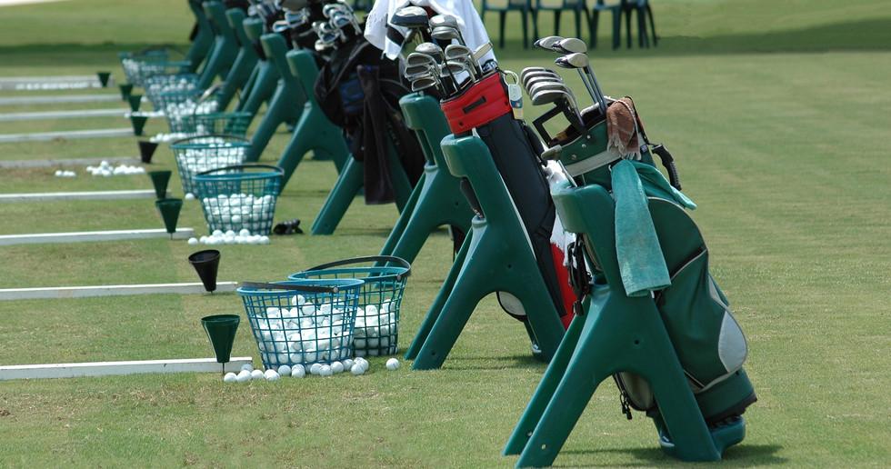 Golf clubs at a golf school in Florida..