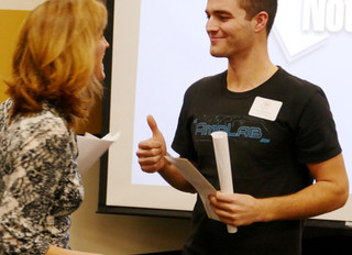 Poissonnier Wins $250 Prize with Car-Audio Battery Pitch!