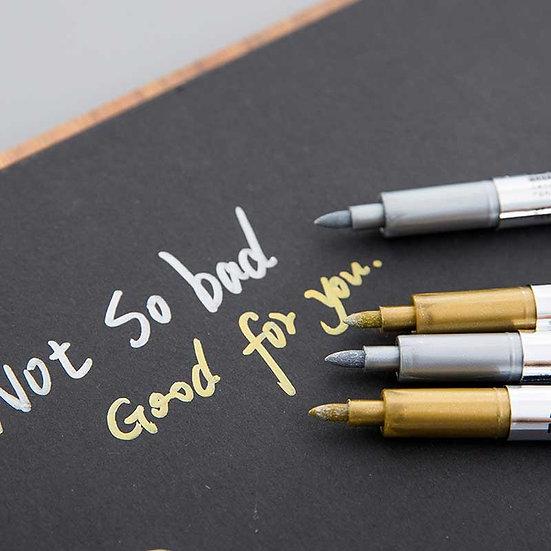 1.5mm DIY Metalic Marker Pens Permanent Paint Markers Pens Sharpie Gold Silver