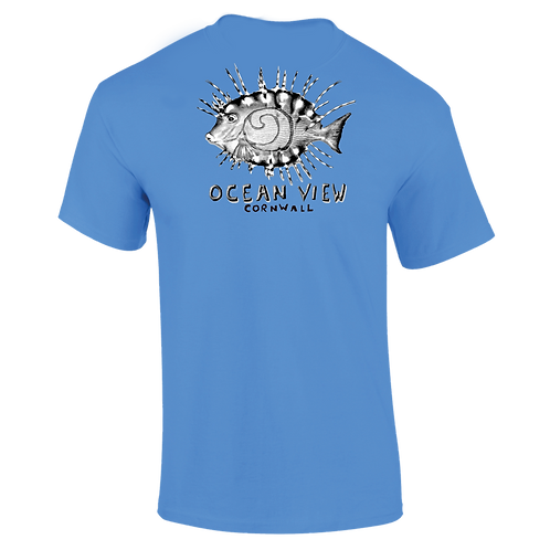 Ocean View Cornwall Tee Shirt Fish Back Print