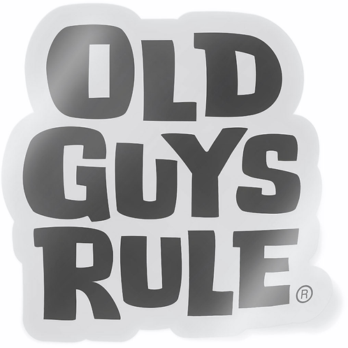 Old Guys Rule Sticker, Black Stacked Logo