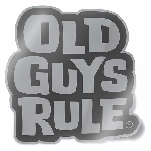 Sticker, Old Guys Rule Stacked Logo Silver