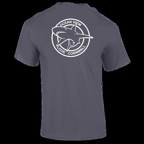 Ocean View Looe Cornwall Shark Tee Shirt Back Print