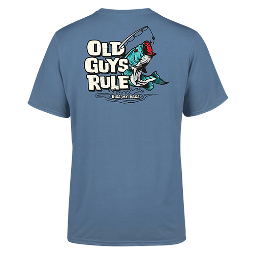 "Old Guys Rule Tee,  ""Kiss My Bass"" Indigo Blue"