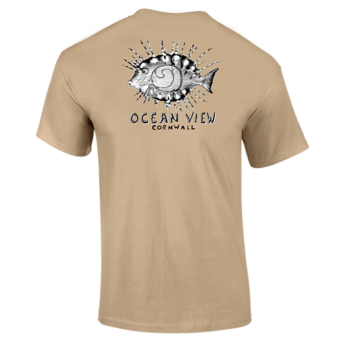 Ocean View Cornwall Tee Shirt  Fish Back Print