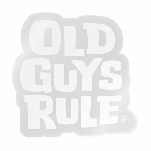 Old Guys Rule Sticker, White Stacked Logo