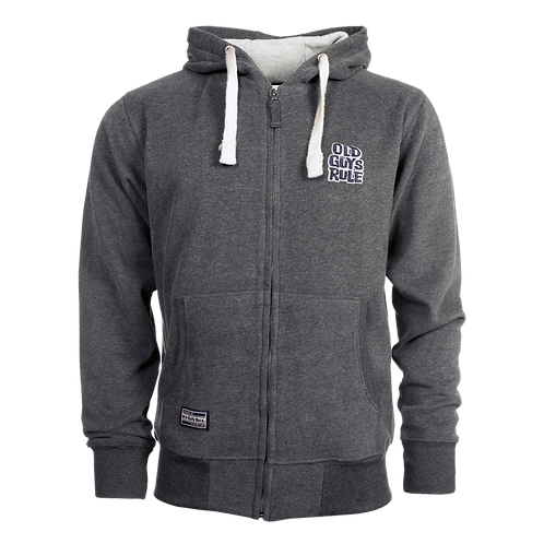 Old Guys Rule Stacked Logo Hoodie Charcoal Marl
