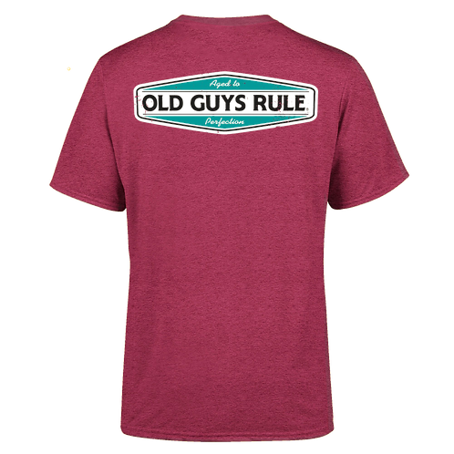Old Guys Rule Tee  Aged To Perfection  Heather Red