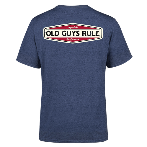 """Old Guys Rule Tee,  """"Aged To Perfection"""" Heather Navy"""