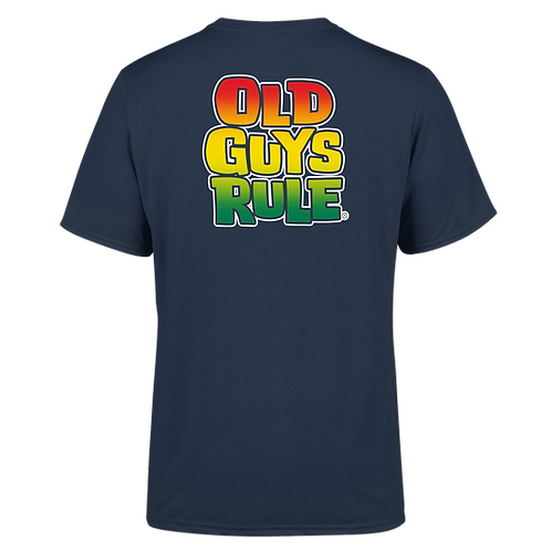 Old Guys Rule Tee,  OGR Halftone Stacked Logo Charcoal