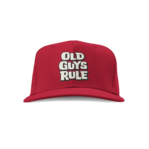 Old Guys Rule Cap, Red Stacked Logo