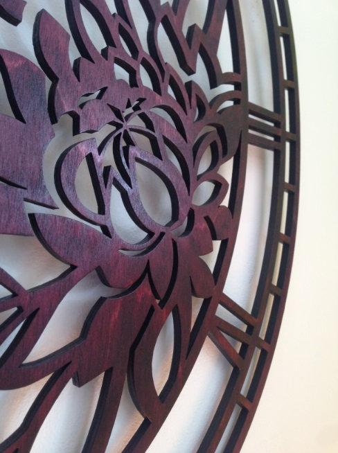 """Большие настенные часы из дерева """"Пионы"""""""