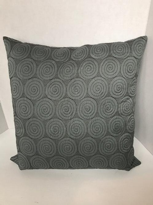 Dusty Blue Circular Swirl Pillow