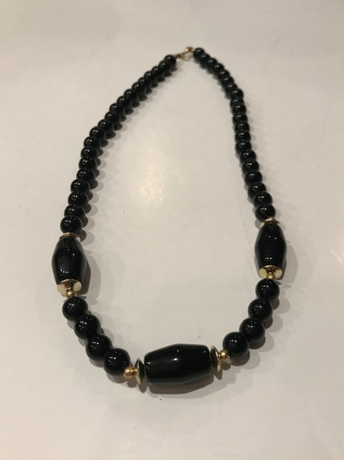 Onyx & Gold Bead Necklace