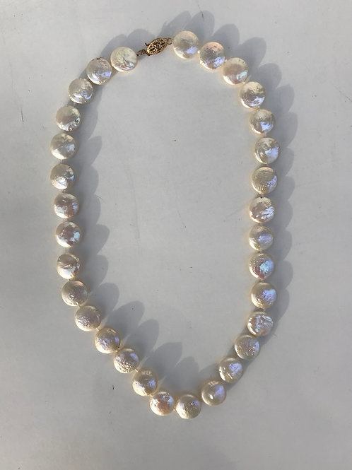 Flattened Pearl Necklace