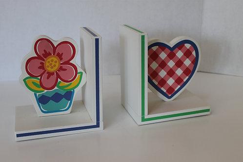 Heart & Flower Wooden Bookends