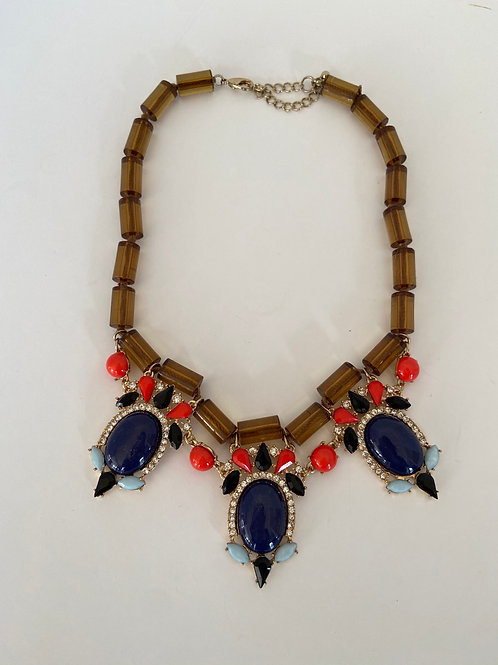 Navy and Rhinstone Necklace