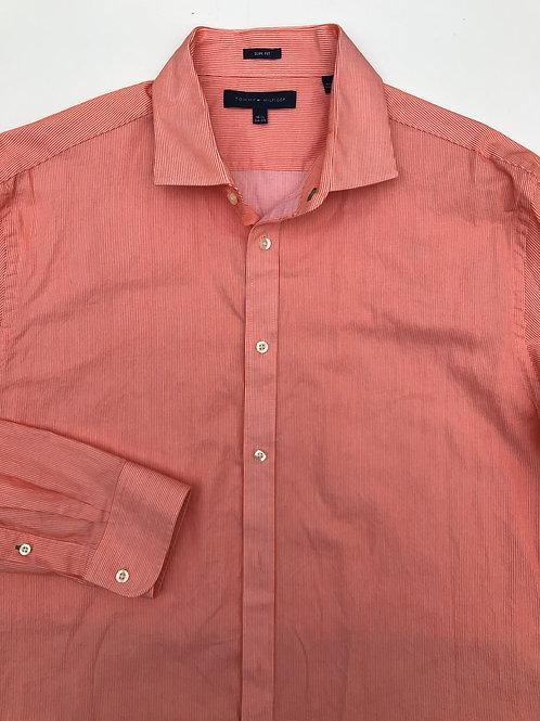 Tommy Hilfiger Orange Striped Button Down (16.5/34-35)