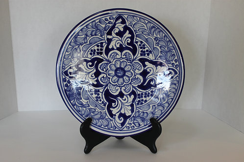 Navy & White Hand Painted Decorative Plate