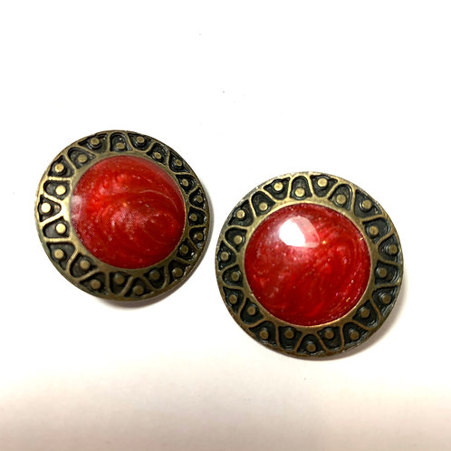 Circle Red Stone Earrings