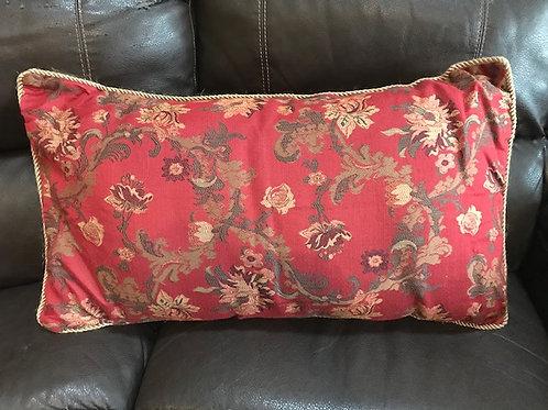 Long Burgundy Flower Pillow