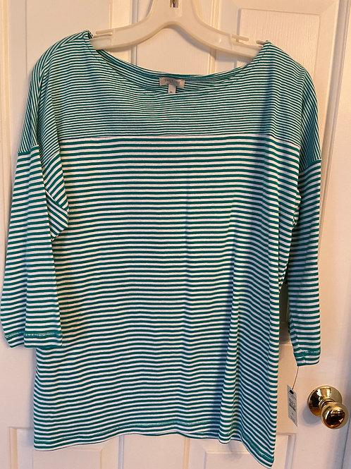 Talbots Green Striped Shirt