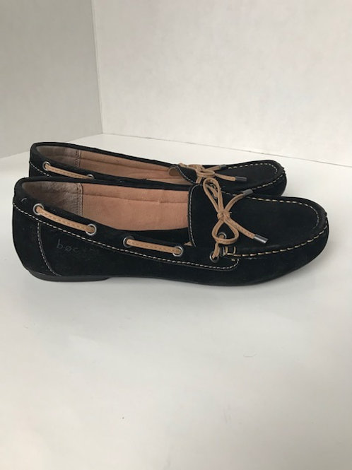 b.o.c. Black Suede Loafer w/ Beige Leather Bow