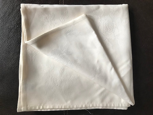 "Square 54"" Cream Table Cloth with Roses"