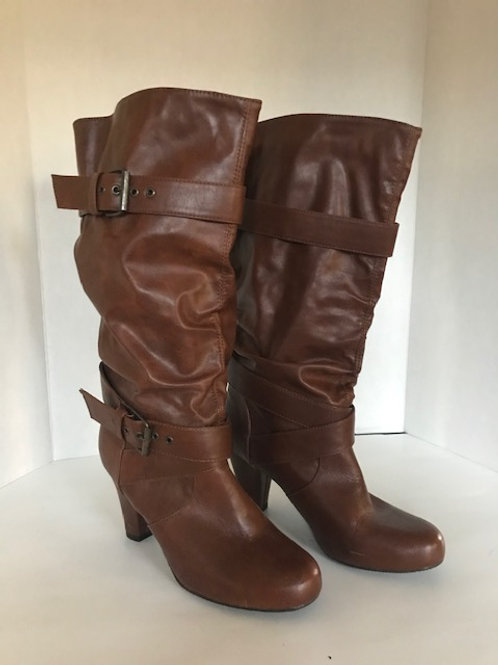 SM New York Brown Leather Buckled Boot