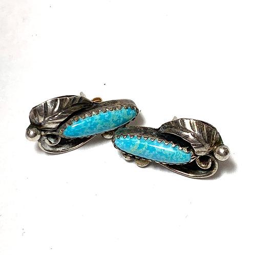 Teal Stone Silver Leaf Earrings
